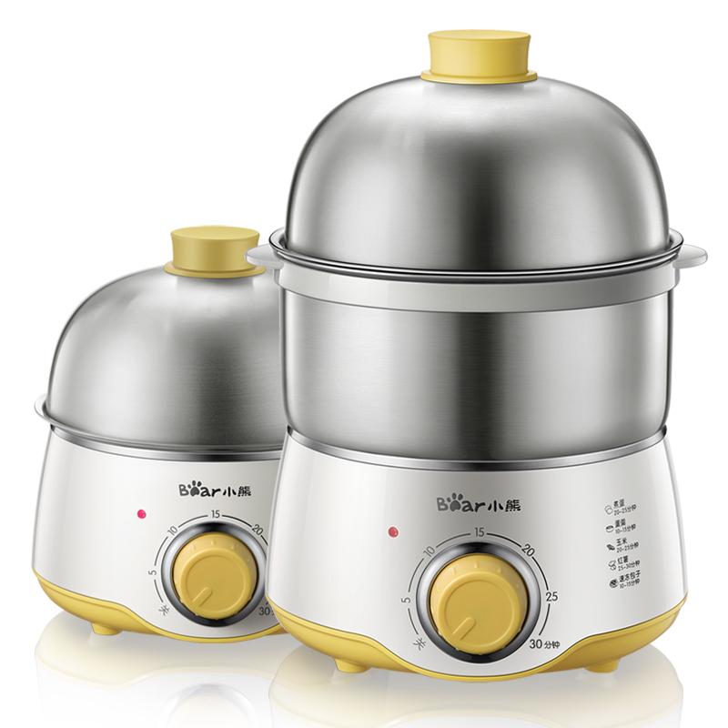 小熊煮蛋器 家用定时蒸蛋器双层不锈钢鸡蛋羹机迷你小型自动断电