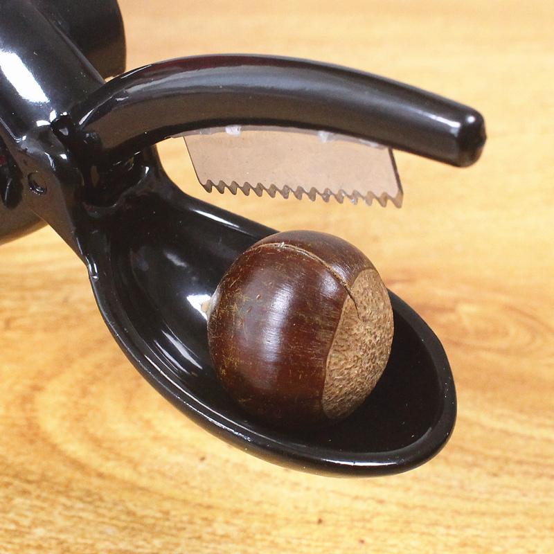 板栗夹子开口器开栗子剪刀锌合金剥核桃壳板栗去皮工具送栗爪