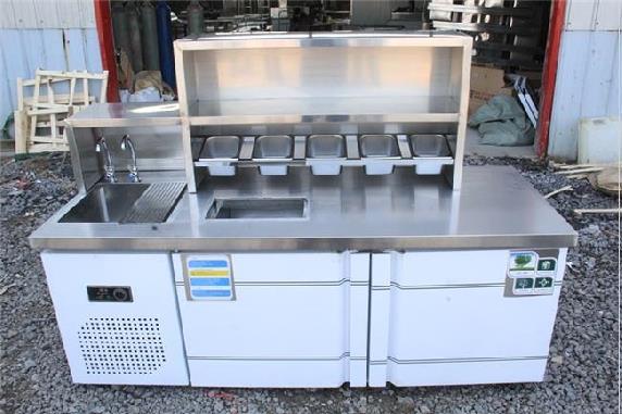 餐饮商用设备冷藏冷饮店器材双温奶茶店美食街开店不锈钢水吧台