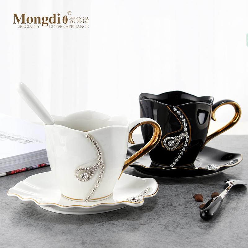 陶瓷咖啡杯 欧式小奢华咖啡杯套装 简约创意情侣水杯办公室马克杯