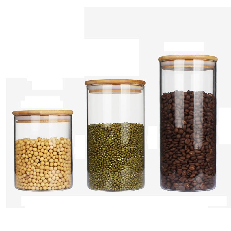 啡忆 咖啡豆密封罐 家用竹盖玻璃瓶 厨房咖啡粉保鲜瓶茶叶储物罐