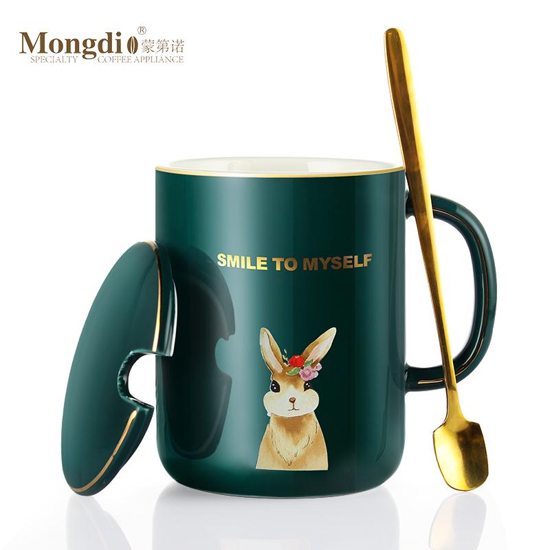咖啡杯家用欧式小奢华陶瓷马克杯带盖勺ins风小精致大容量情侣杯