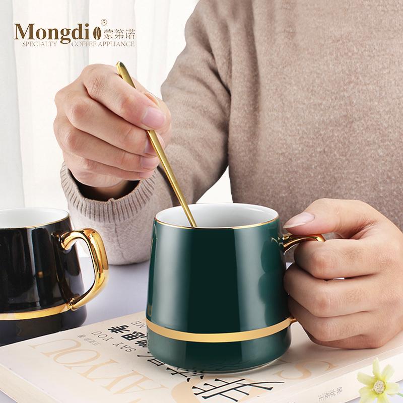 啡忆 欧式咖啡杯套装家用小奢华陶瓷咖啡杯碟ins马克杯带盖勺