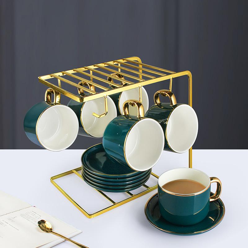 咖啡杯家用欧式小奢华陶瓷咖啡杯套装简约咖啡杯碟勺北欧下午茶具