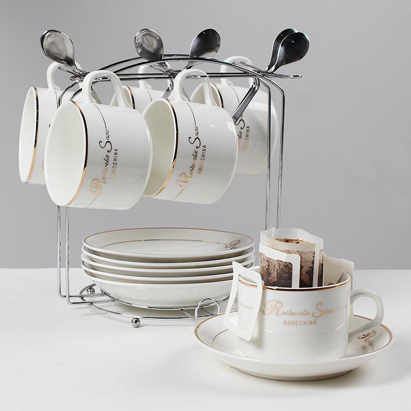 啡忆欧式陶瓷杯咖啡杯套装 简约咖啡杯6件套家用小奢华咖啡杯碟勺