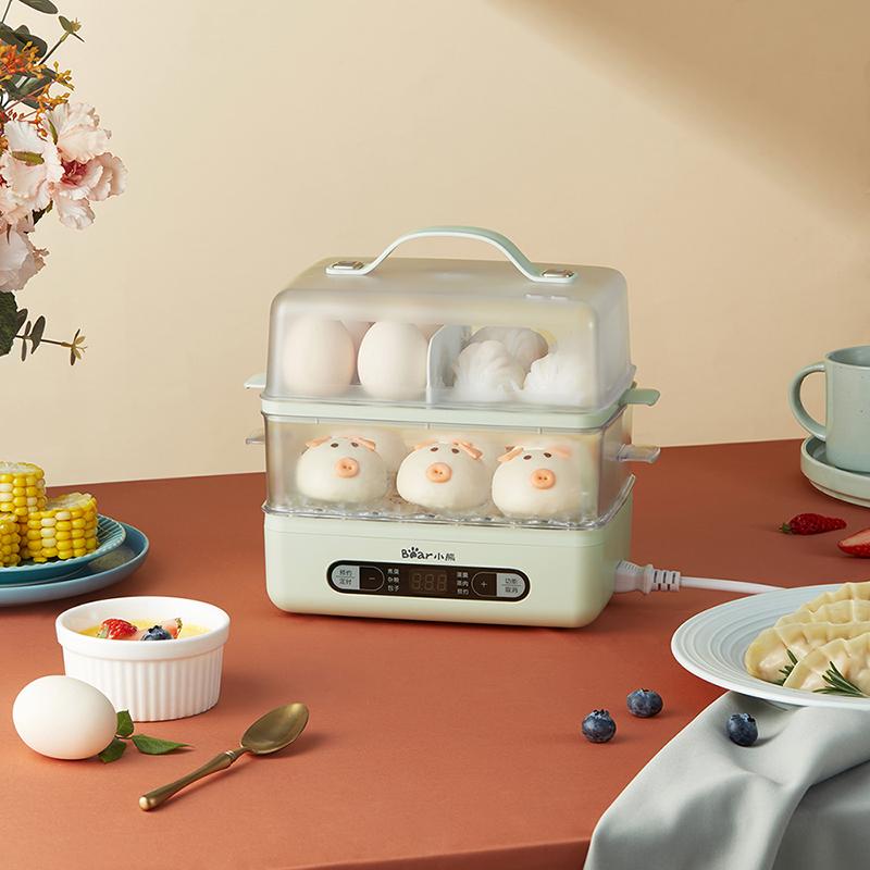 小熊煮蛋蒸蛋器多功能家用双层大容量超大全自动断电小蒸锅电蒸笼
