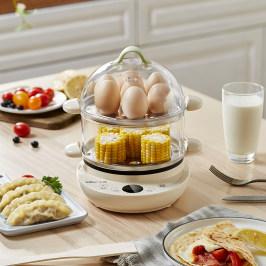 小熊煮蛋器蒸蛋器家用多功能自动断电双层定时小型早餐机神器煎蛋